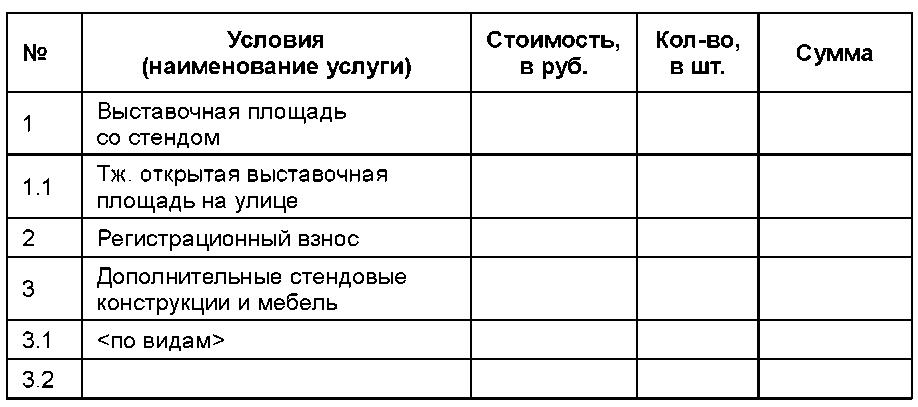 Образец договор на участие в выставке