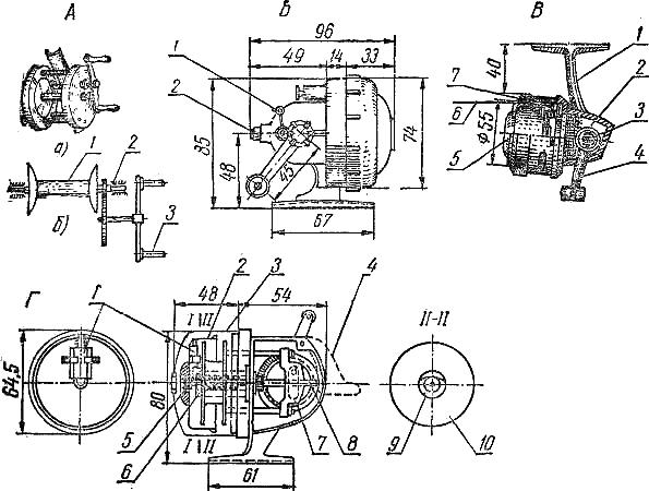 спиннинговая катушка кинематическая схема