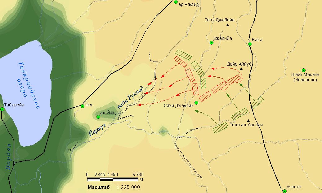 Схема сражения при Йармуке