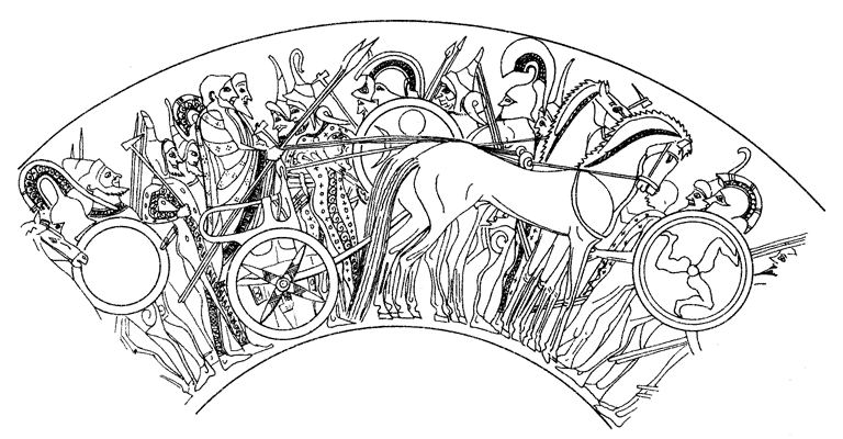 Афинские воины и колесница — с