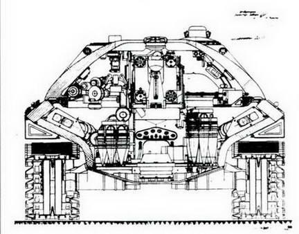 Поперечный разрез танка ИС-7.